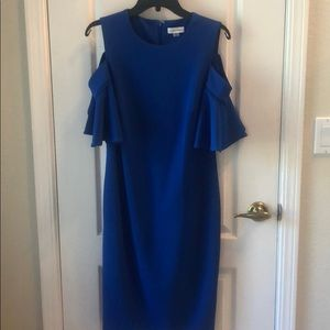 Calvin Klein blue cold shoulder dress, Sz 10 NWOT